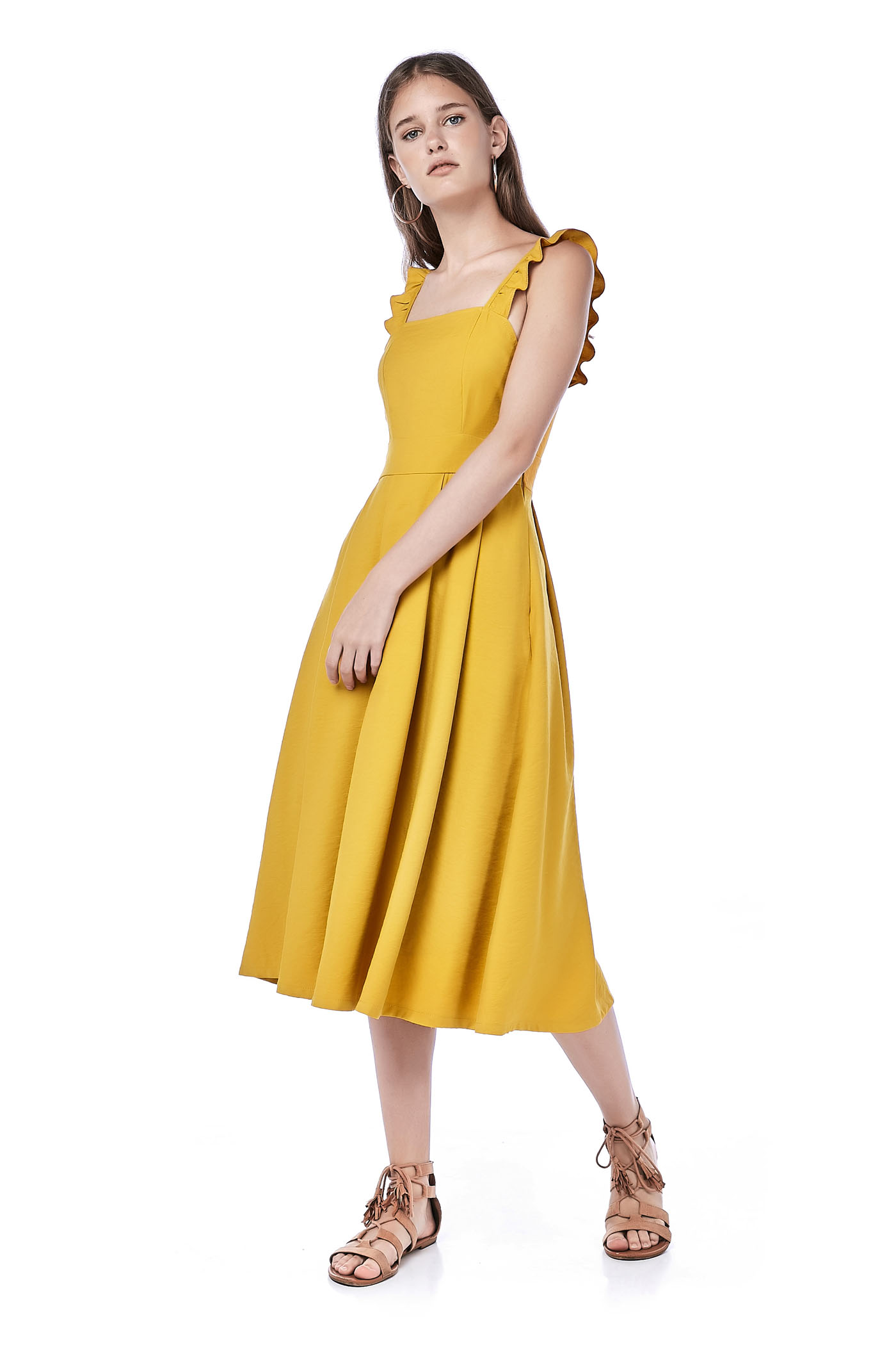 Rozelle Ruffle-strap Midi Dress