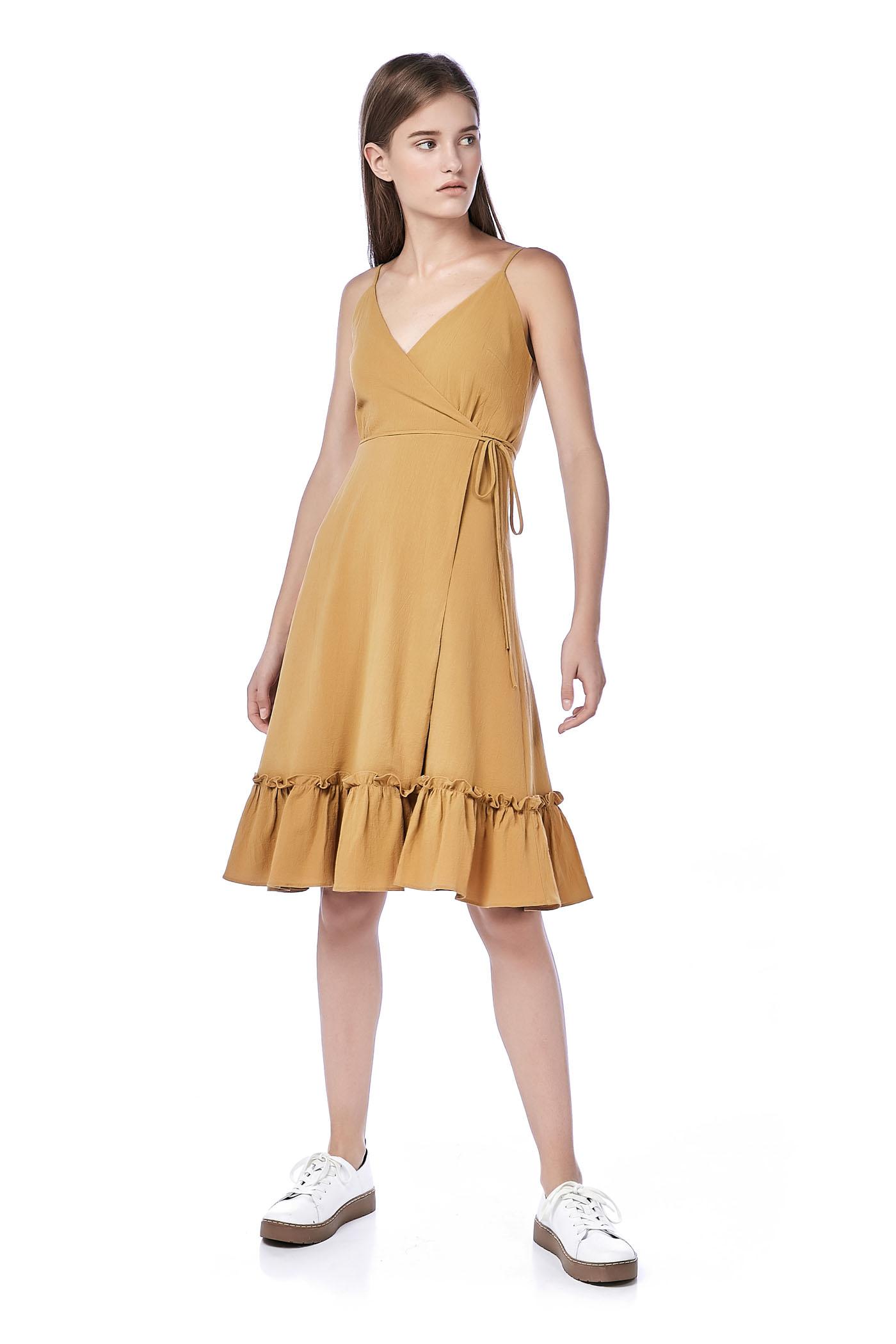 Fellie Ruffle-Hem Wrap Dress