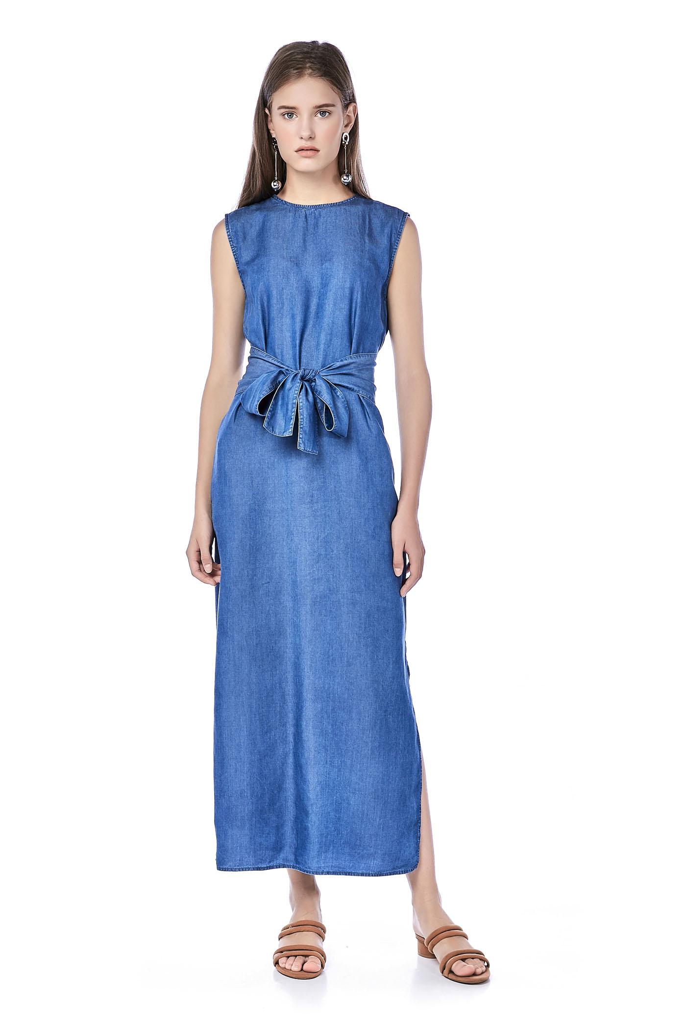 Brandy Gathered-Waist Denim Dress