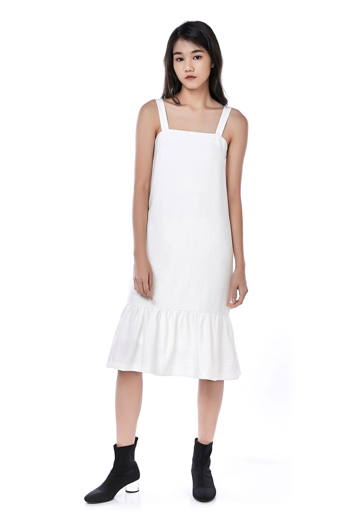 Melcho Ruffle-Hem Midi Dress