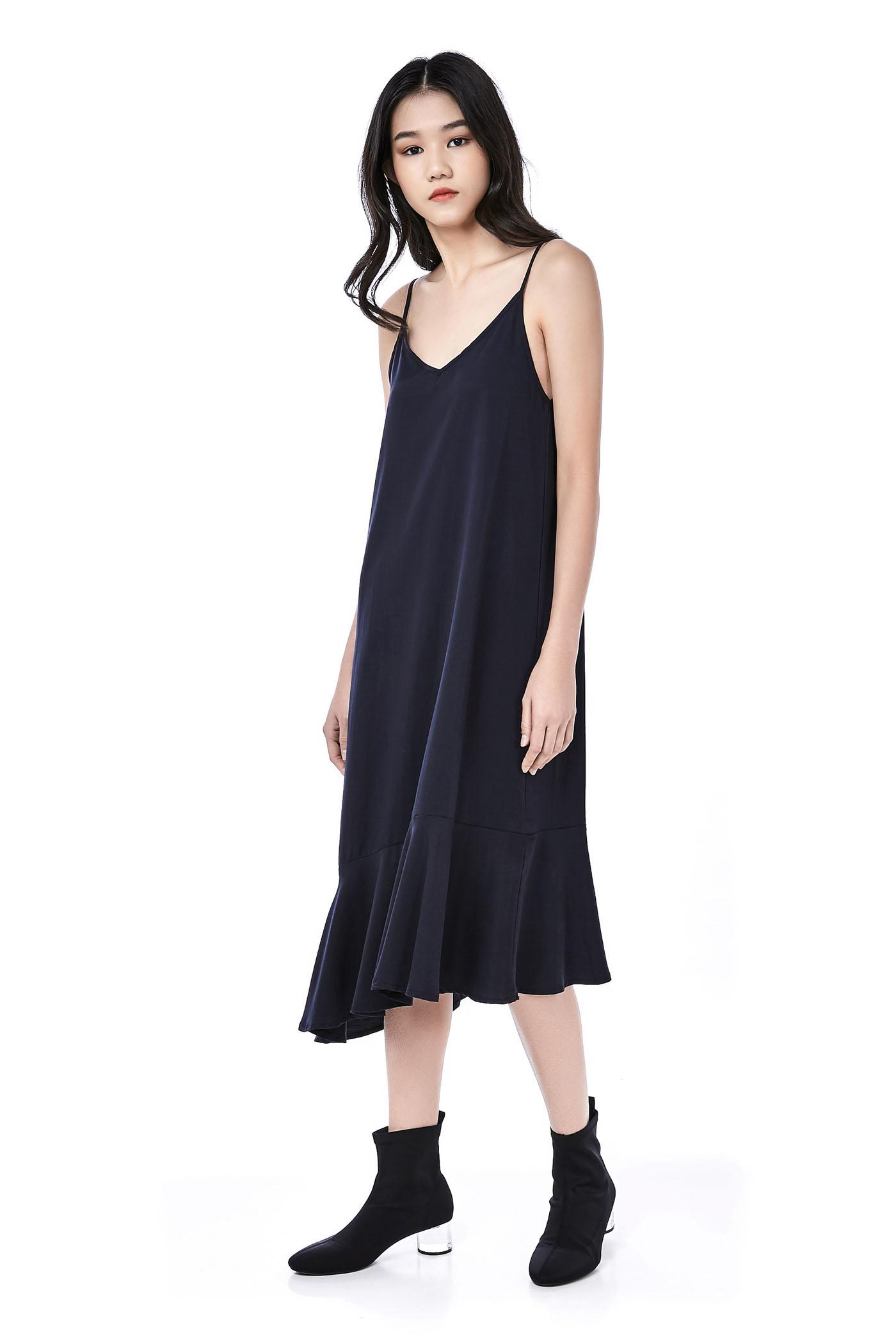 Daelyn Ruffle-Hem Midi Dress