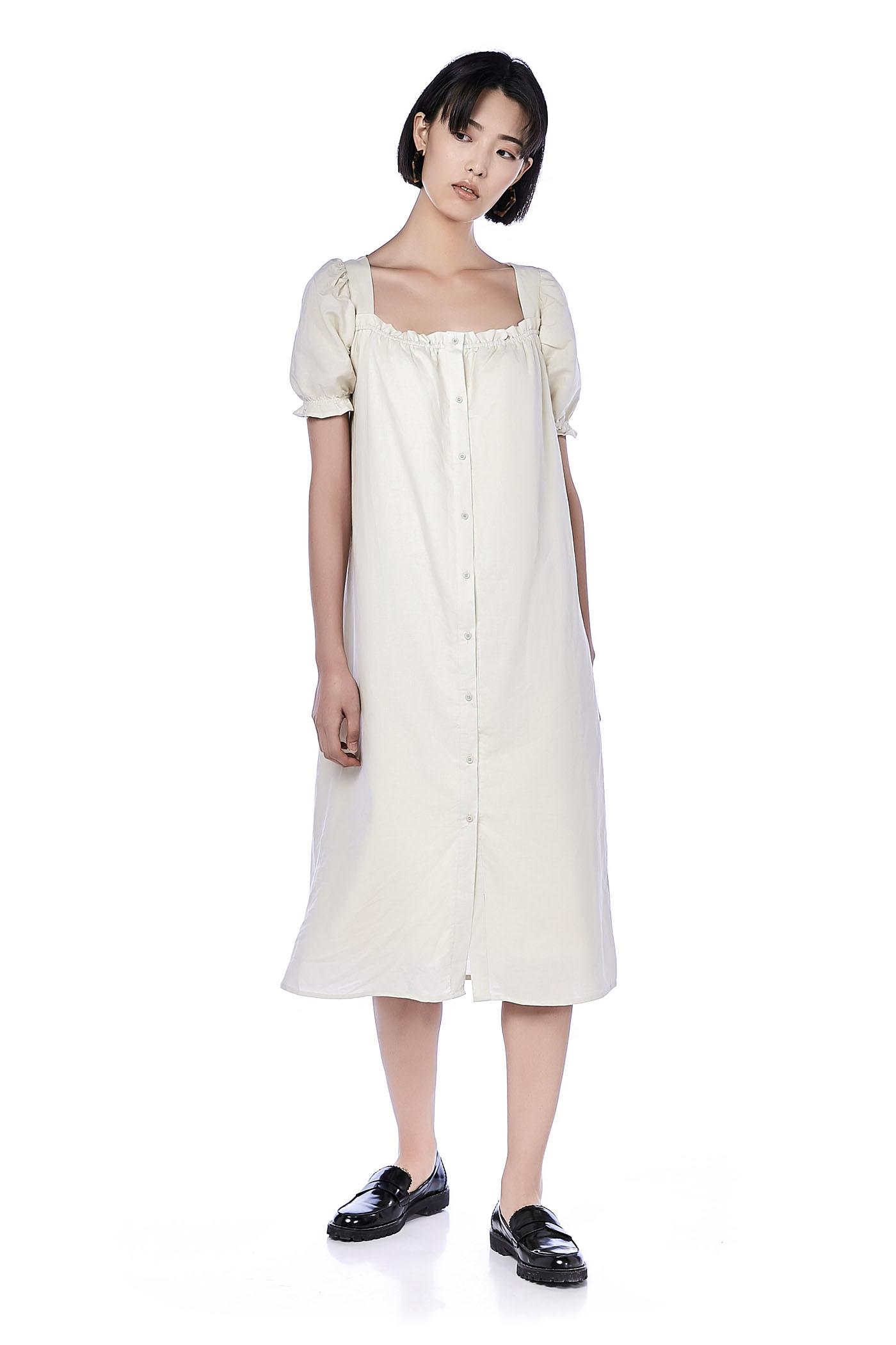 Aurora Pouf-Sleeve Maxi Dress
