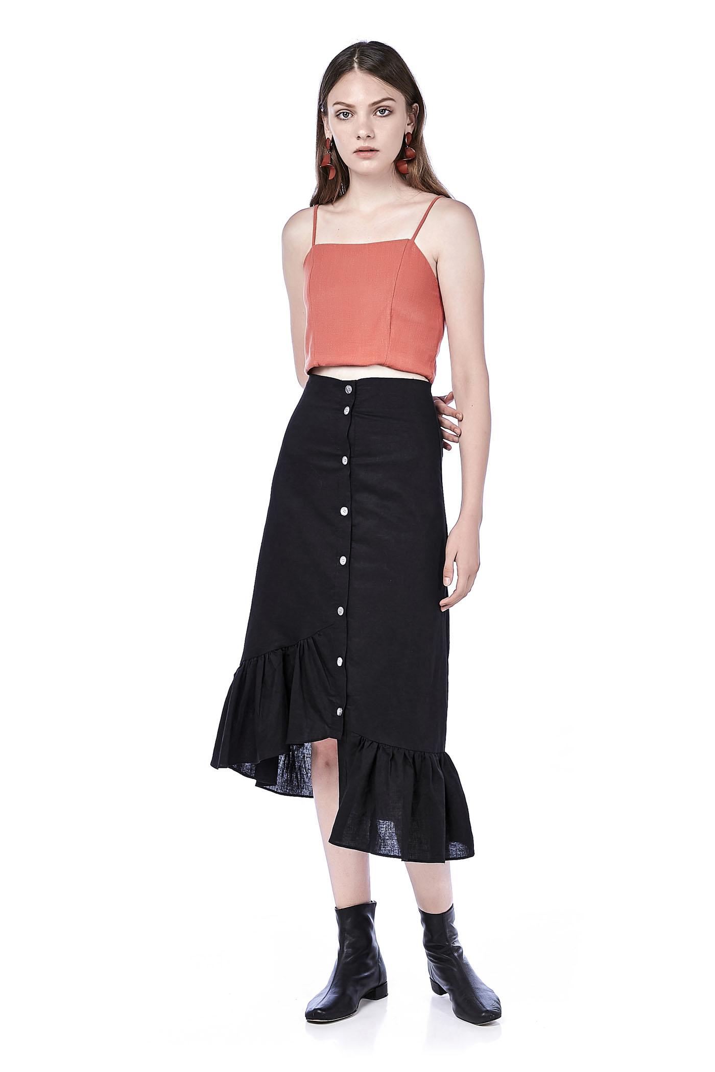 Velana Ruffle-Hem Midi Skirt