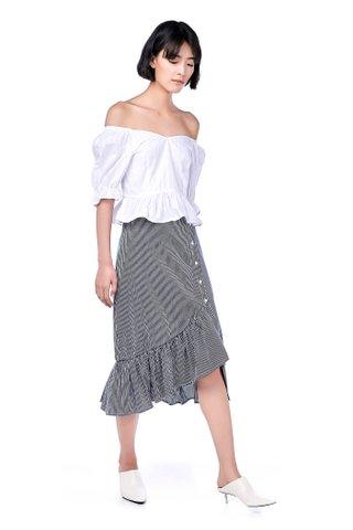 Abriella Ruffle-Hem Wrap Skirt