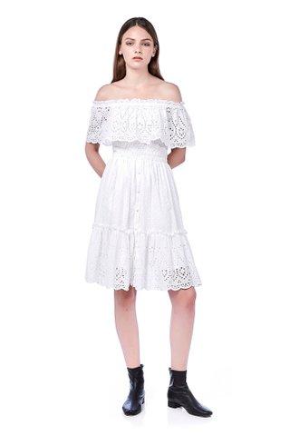 Erith Off-Shoulder Eyelet Midi Dress