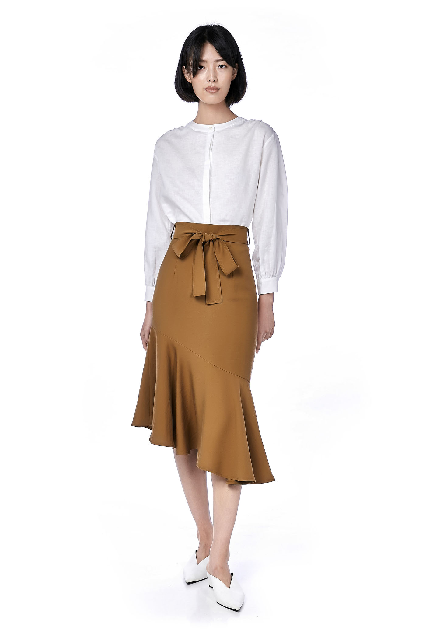Emmy Ruffle-Hem Midi Skirt