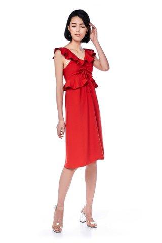 Roxette Ruffle-Trim Midi Dress