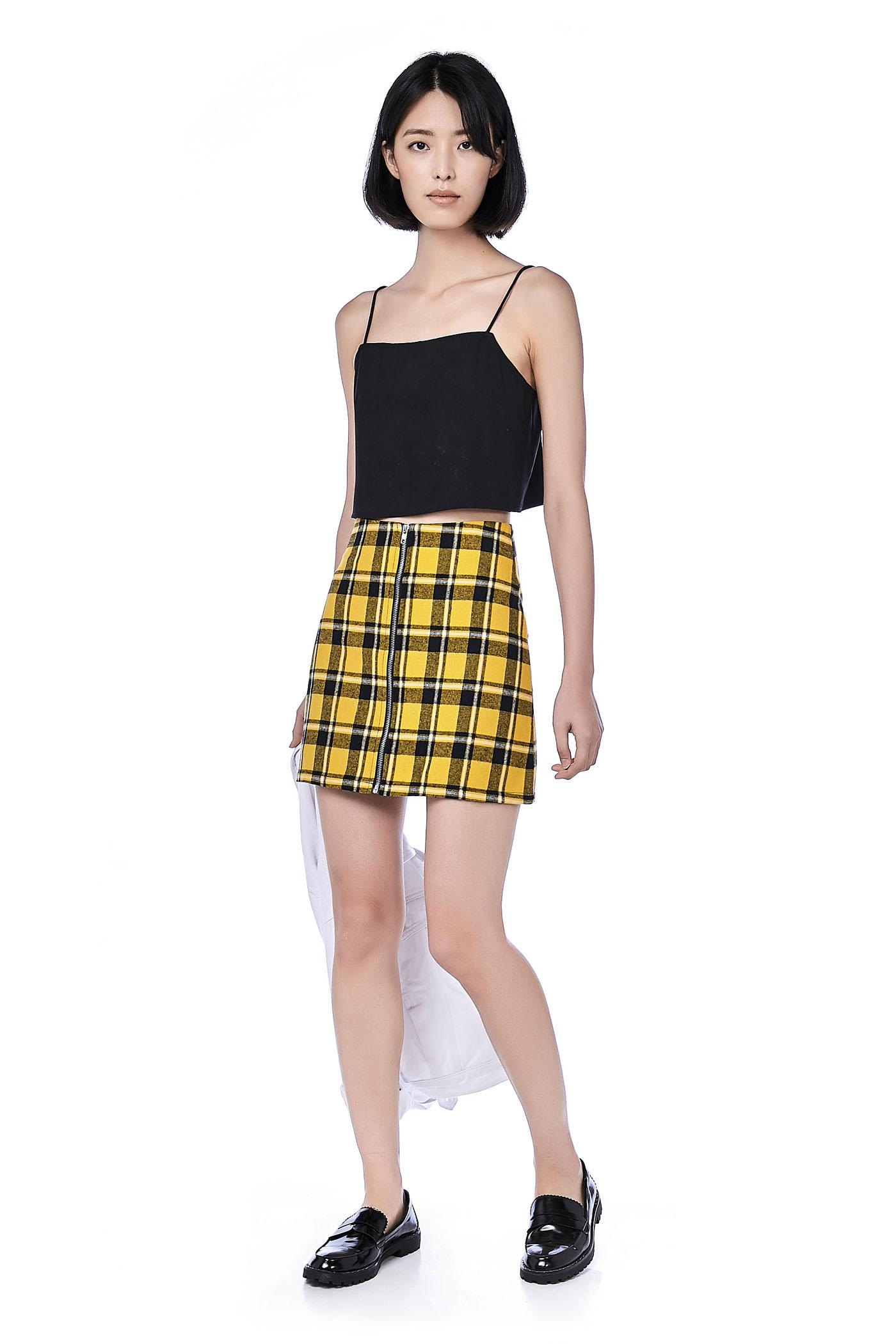 Clairo Zip Front Mini Skirt