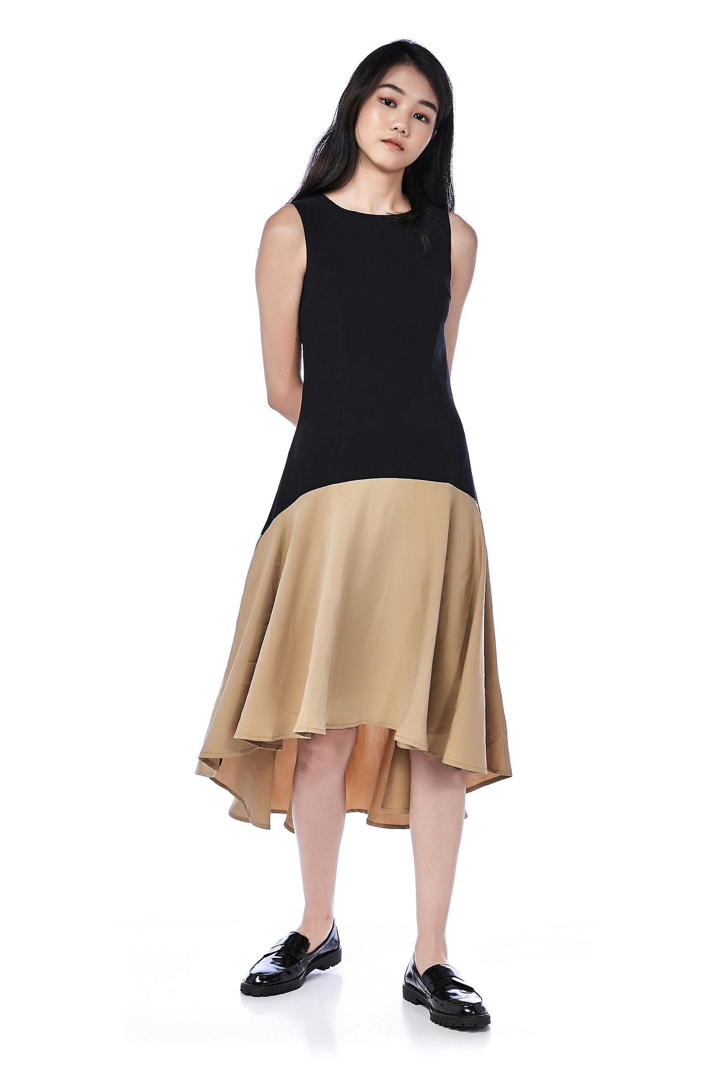 Fenn Drop Waist Dip-Hem Dress