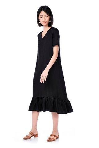 Brielle Ruffle-Hem Midi Dress