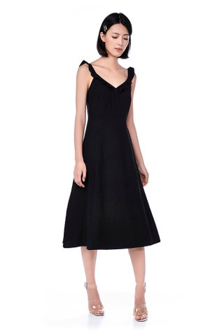 Arlisa Ruffle-strap Midi Dress