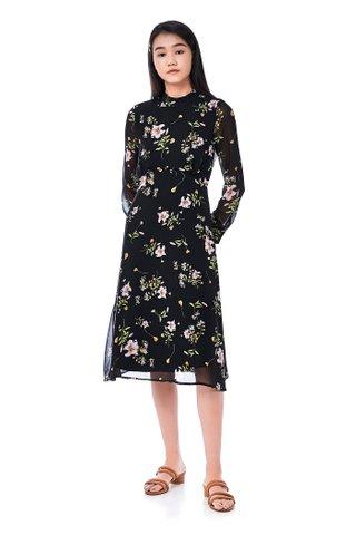 Sabrie Mock-Neck Blouson Dress
