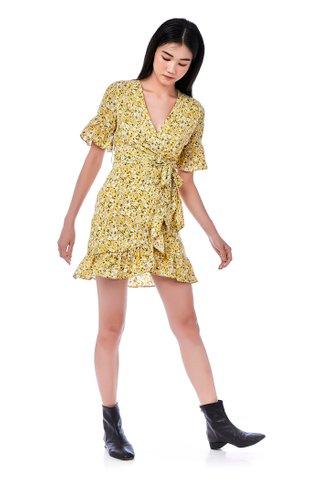 Gibbi Overlap Frill-Hem Dress