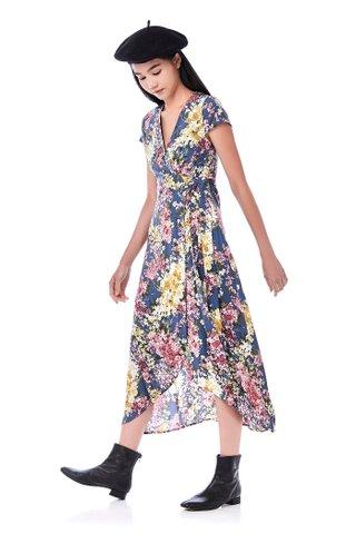 Raveena Dip-Hem Wrap Dress