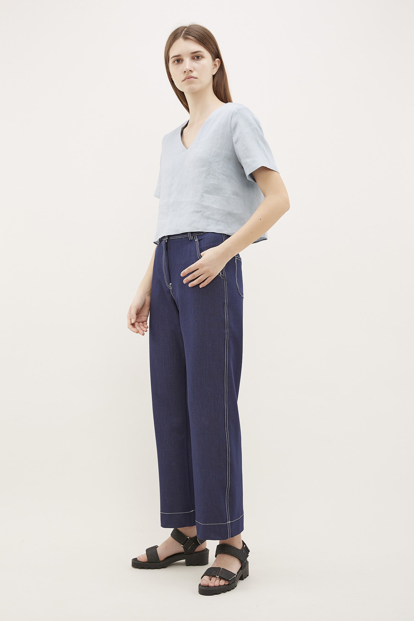 Qays Cross-Back Linen Top