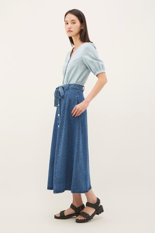 Ruben A-Line Denim Skirt