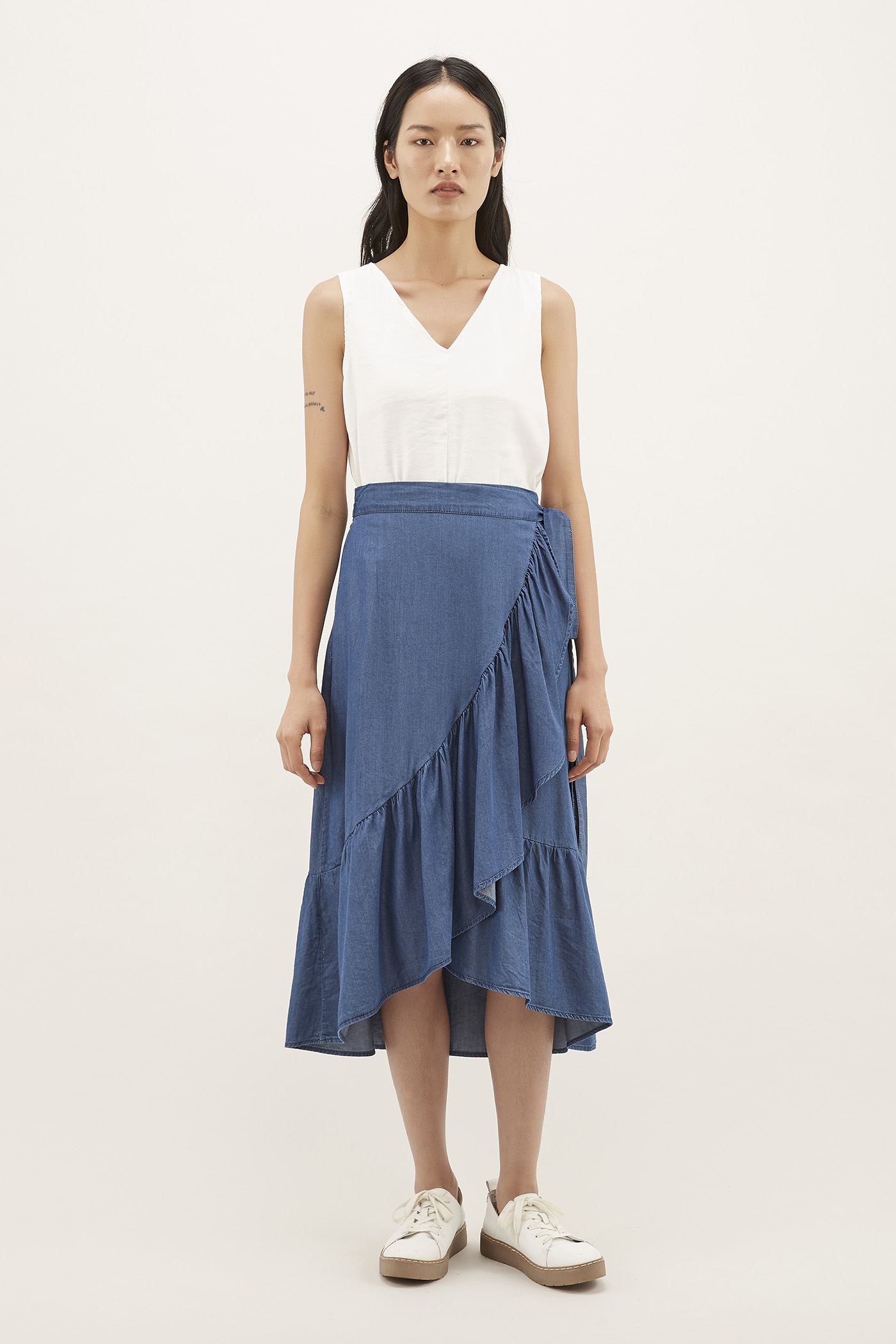 Sharina Frill-hem Wrap Skirt