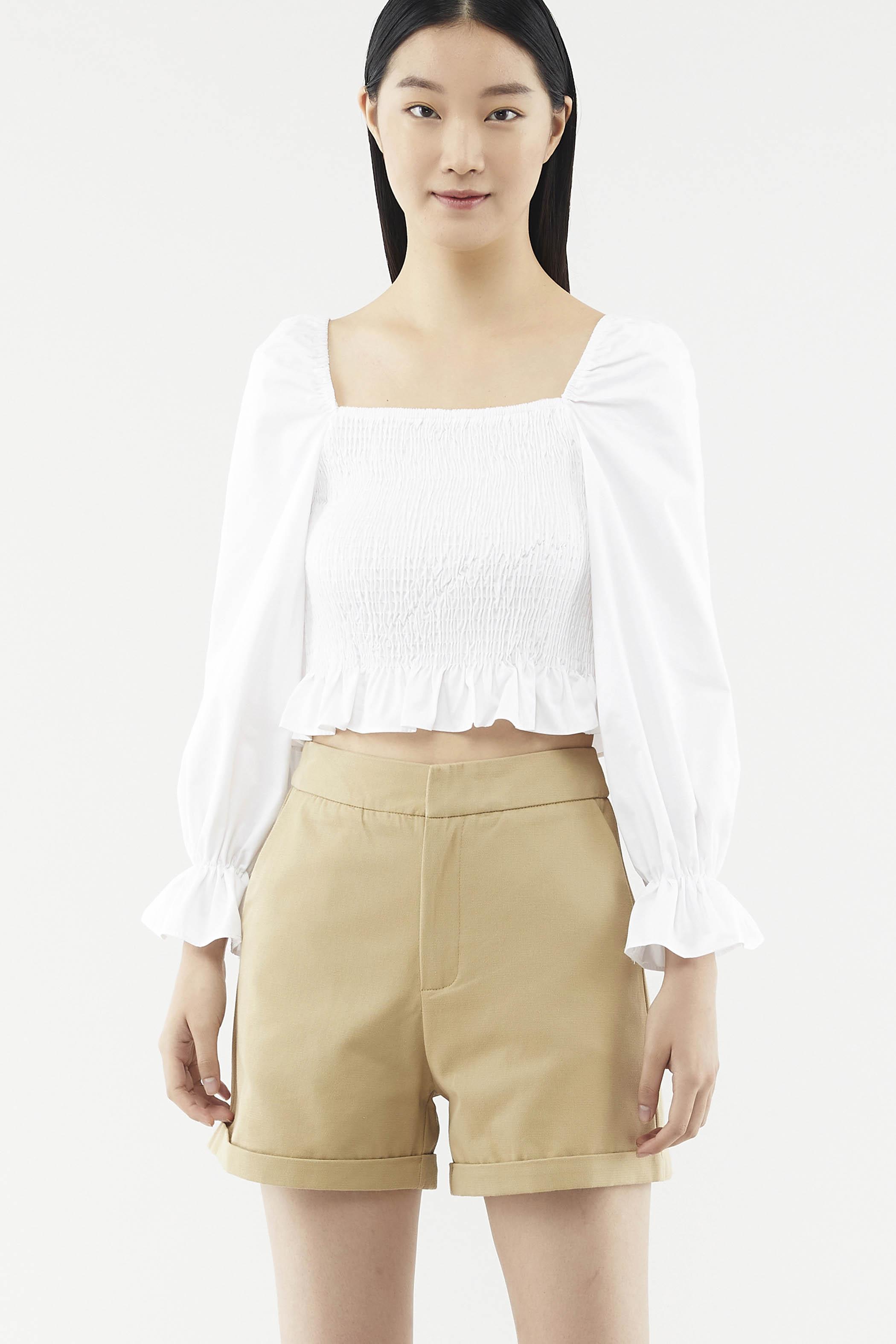 Darina Square-neck Shirred Top